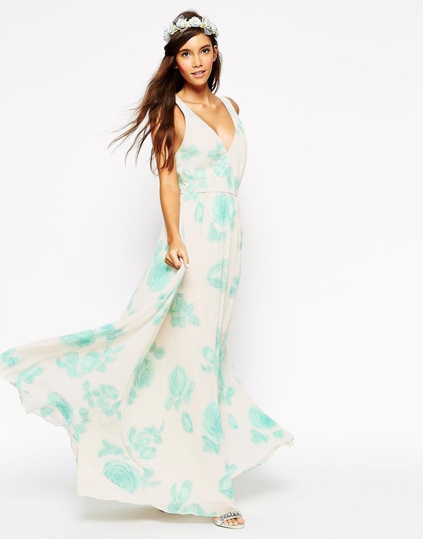 Asos Watercolour Floral Maxi Dress