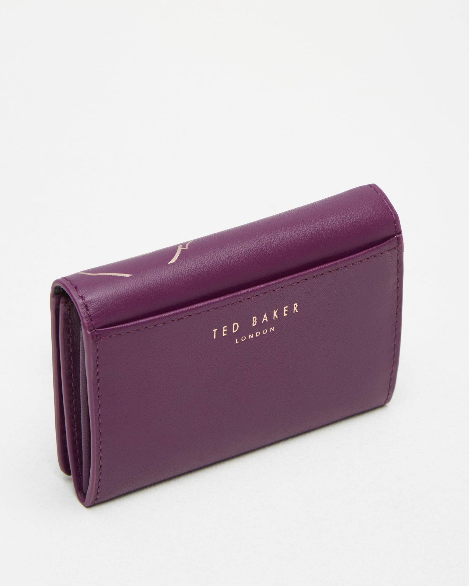 b89a566f5287 Ted Baker Bear Foil Detail Leather Purse in Purple - Lyst