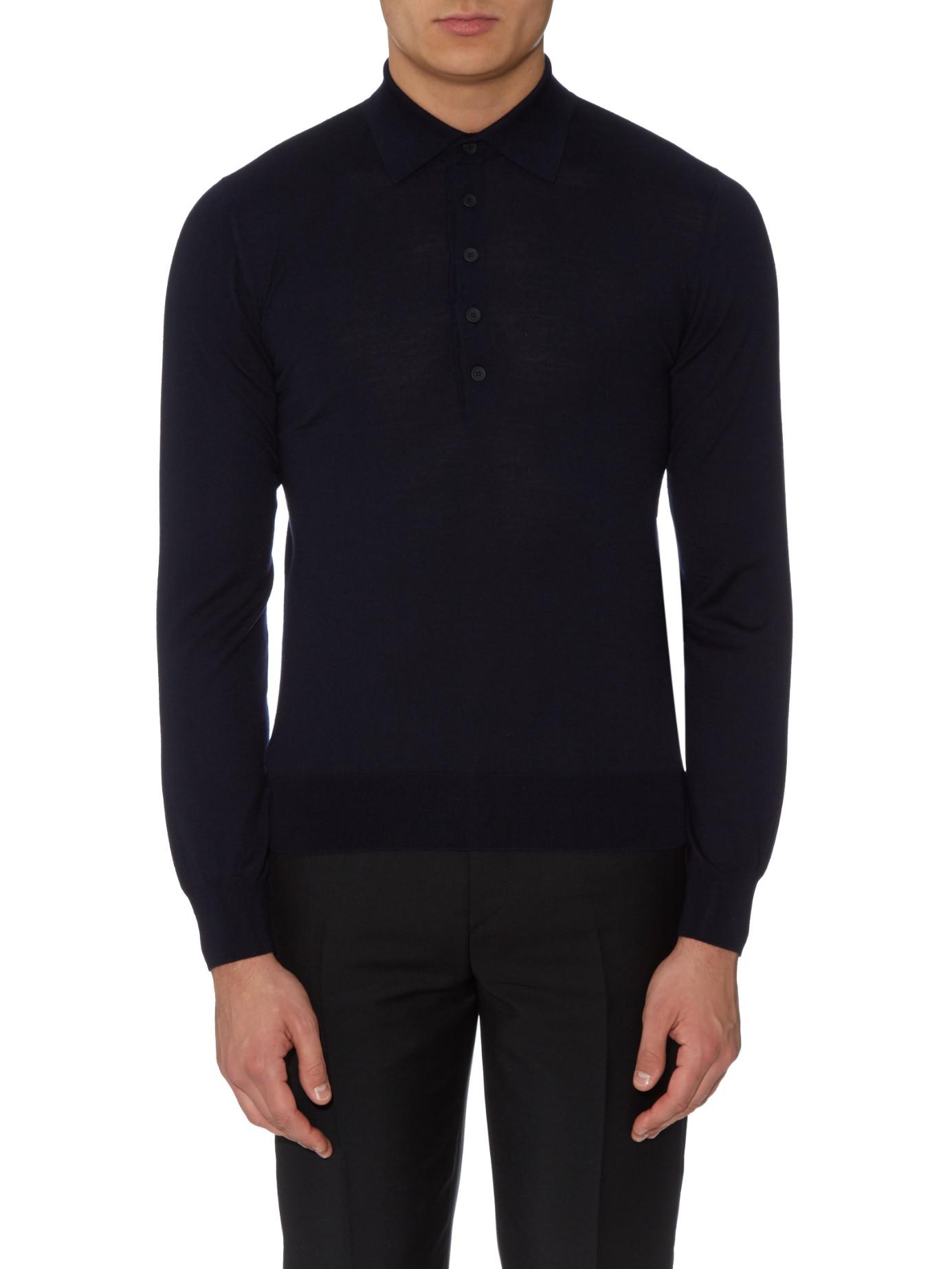 Bottega veneta long sleeved merino wool polo shirt in blue for Long sleeve wool polo shirts