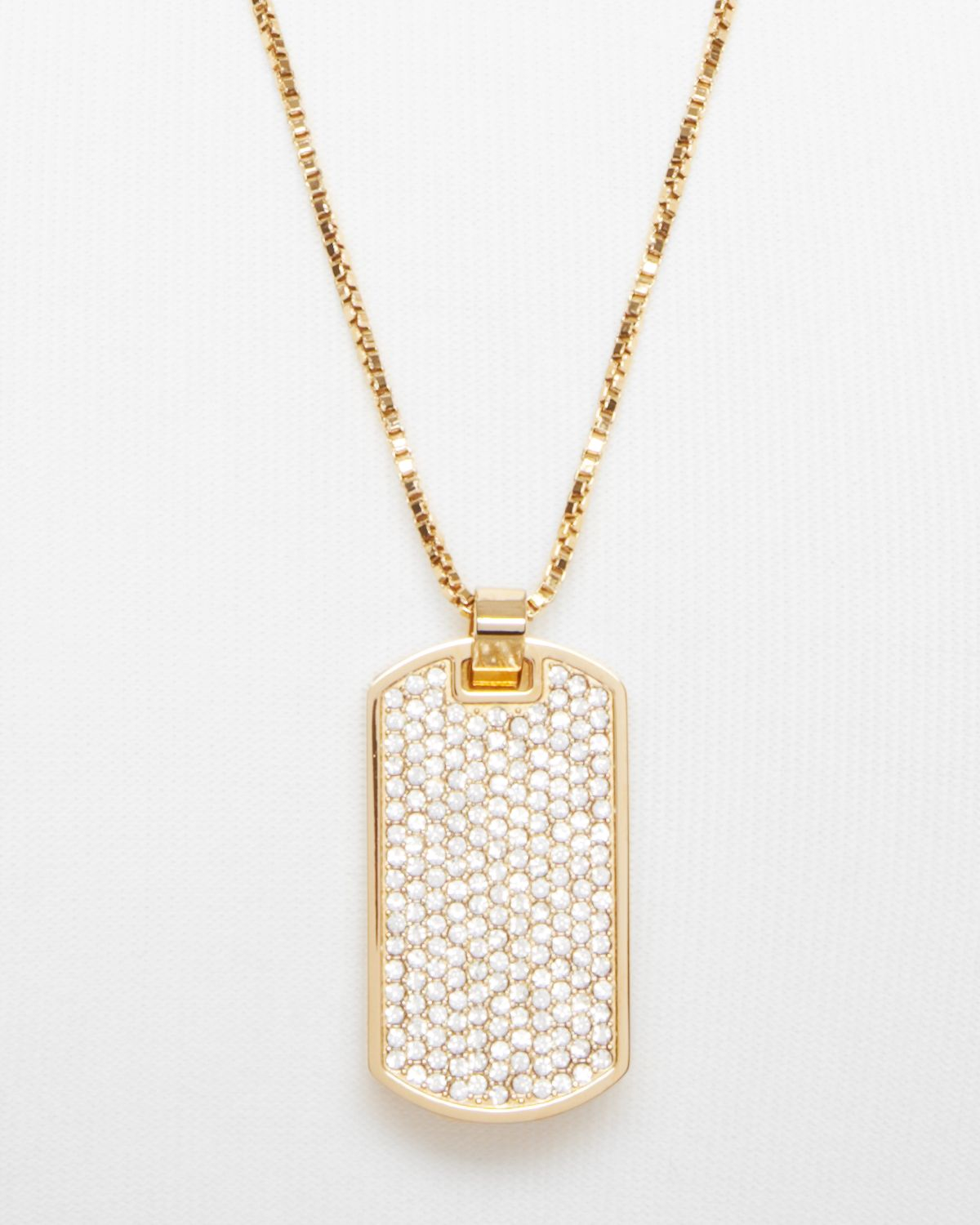 Lyst Michael Kors Pave Dog Tag Necklace 26 In Natural