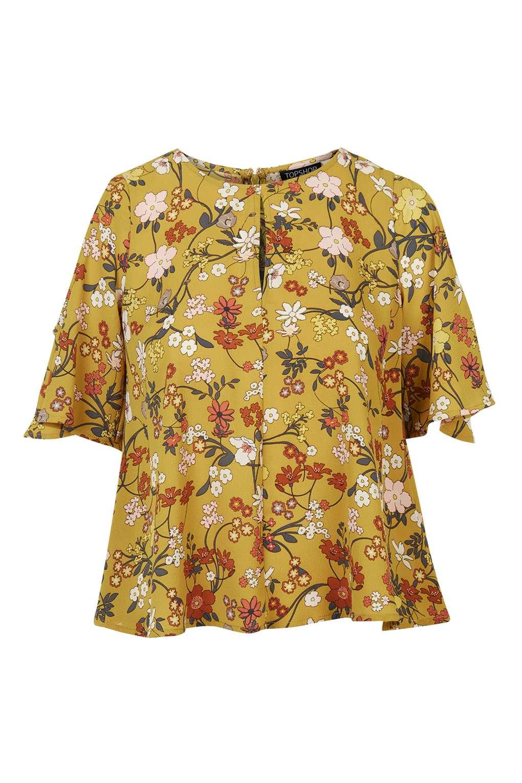 2b8ce1cf0c5c6 Lyst - TOPSHOP Secret Garden Cold Shoulder Top in Yellow