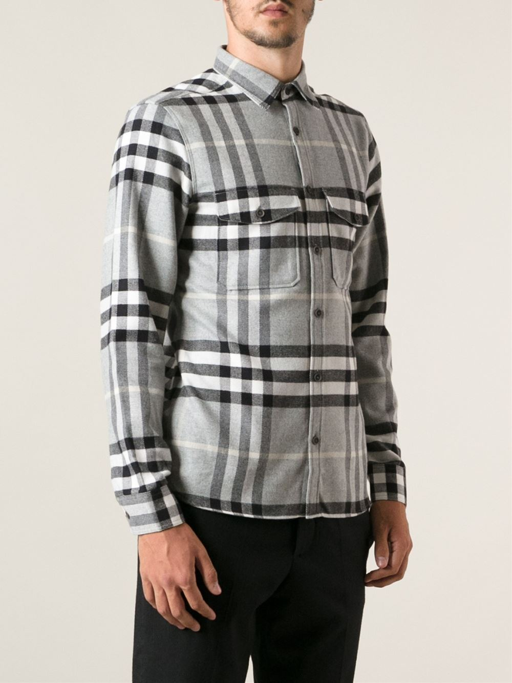 Burberry brit checked flannel shirt in gray for men lyst for Burberry brit checked shirt