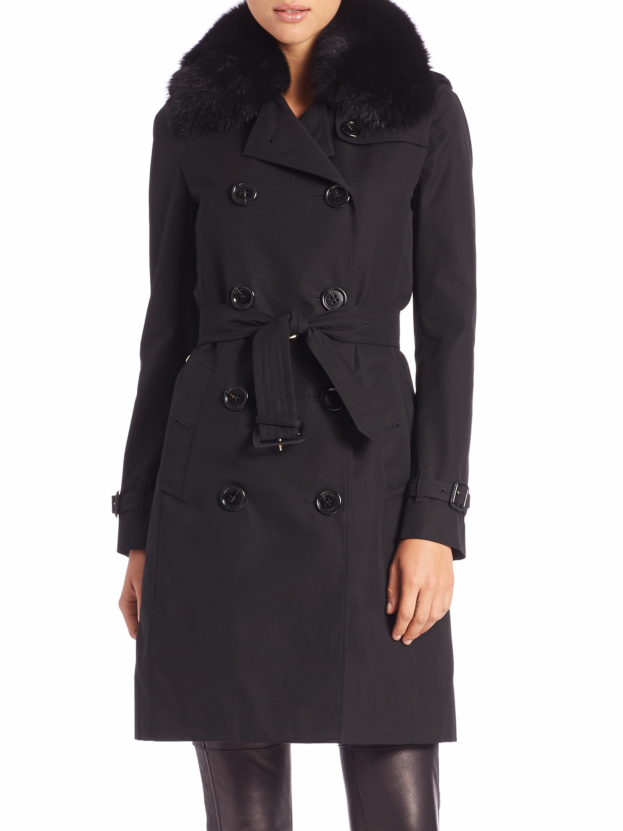 Burberry Fur Collar Trench Coat In Black Lyst