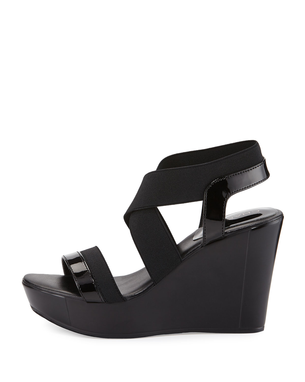 aa43e0a2e739 Lyst - Charles David Feature Elastic Wedge Sandal in Black