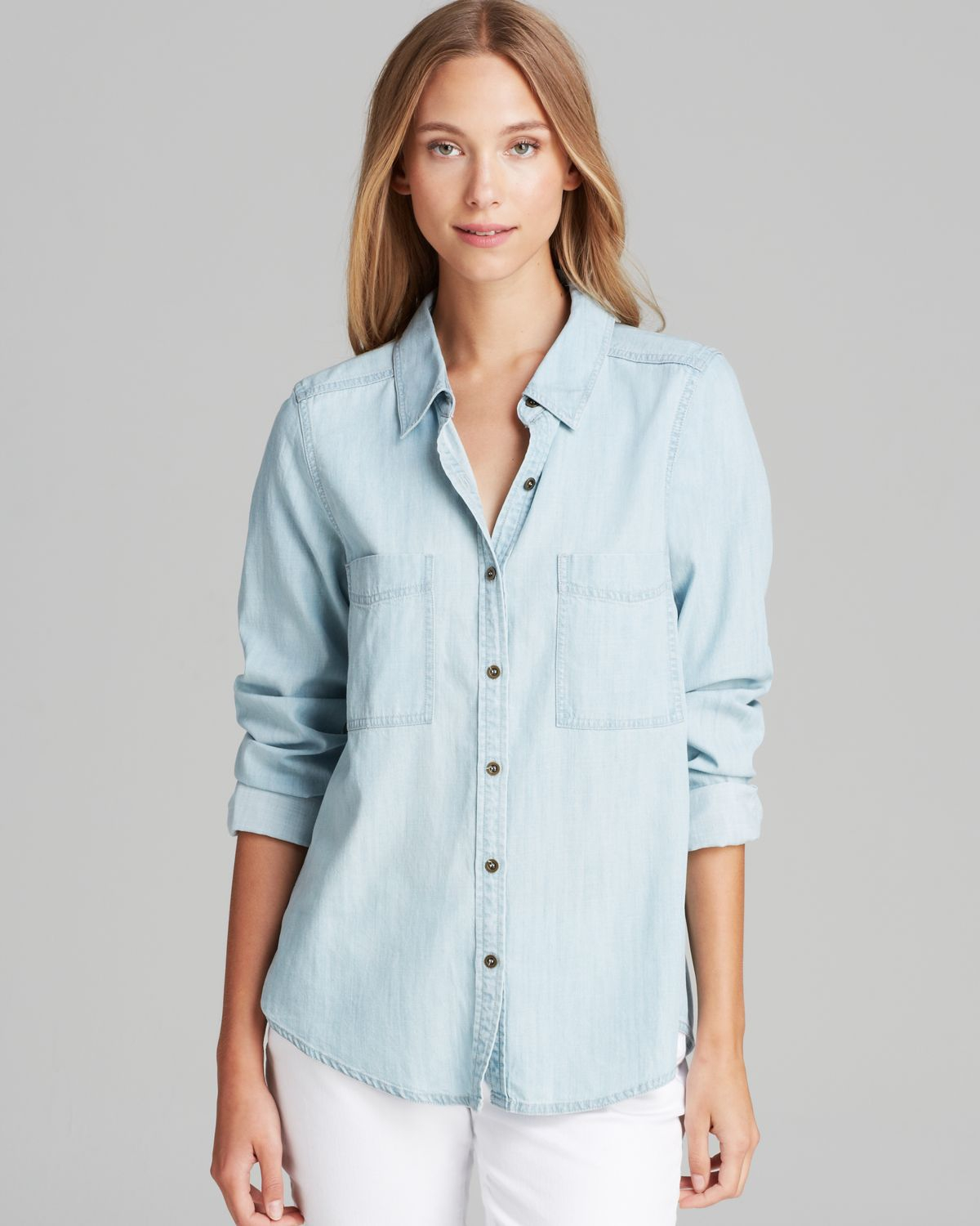 Eileen fisher chambray shirt in blue lyst for Blue chambray shirt women s
