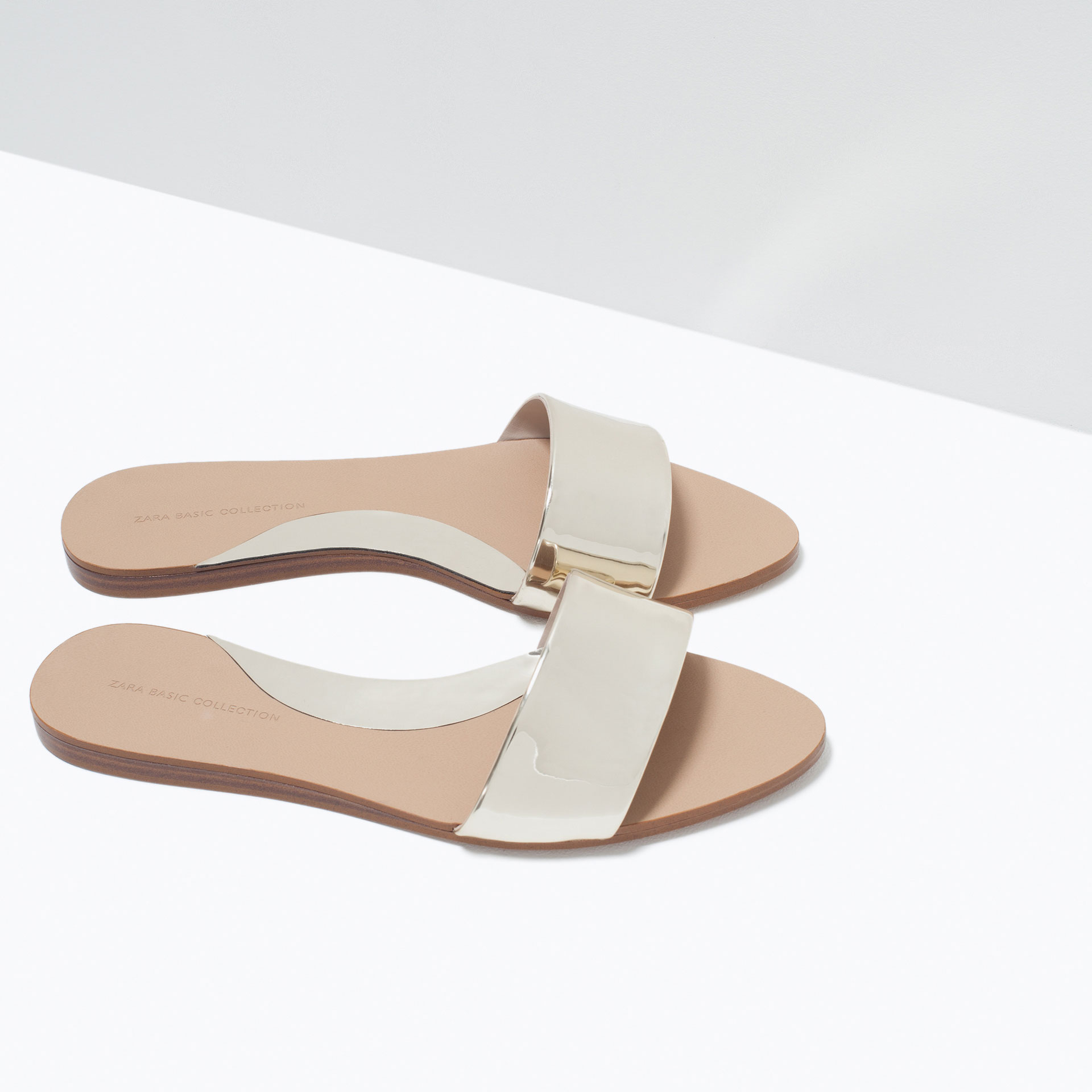 Zara Shiny Flat Slides In Metallic Lyst
