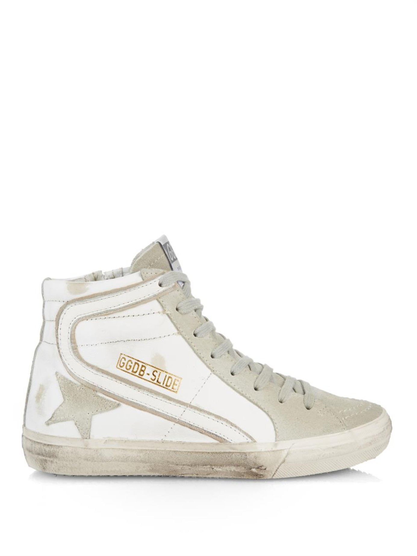 2344dbe93d8 Golden Goose Deluxe Brand Slide High-Top Leather Sneakers in White ...