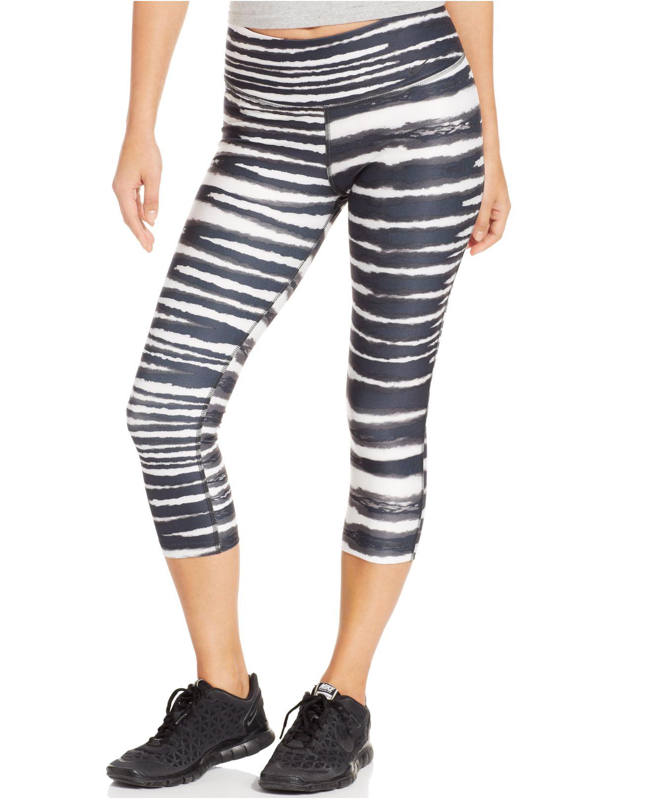 b98ab89880 Nike Legend 2.0 Tiger-Stripe Dri-Fit Capri Leggings in Gray - Lyst
