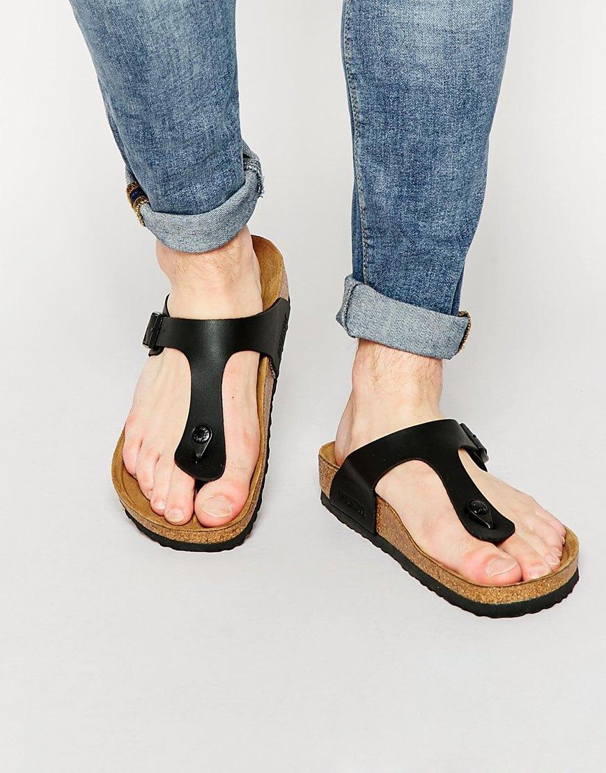 lyst birkenstock gizeh sandals in black for men. Black Bedroom Furniture Sets. Home Design Ideas