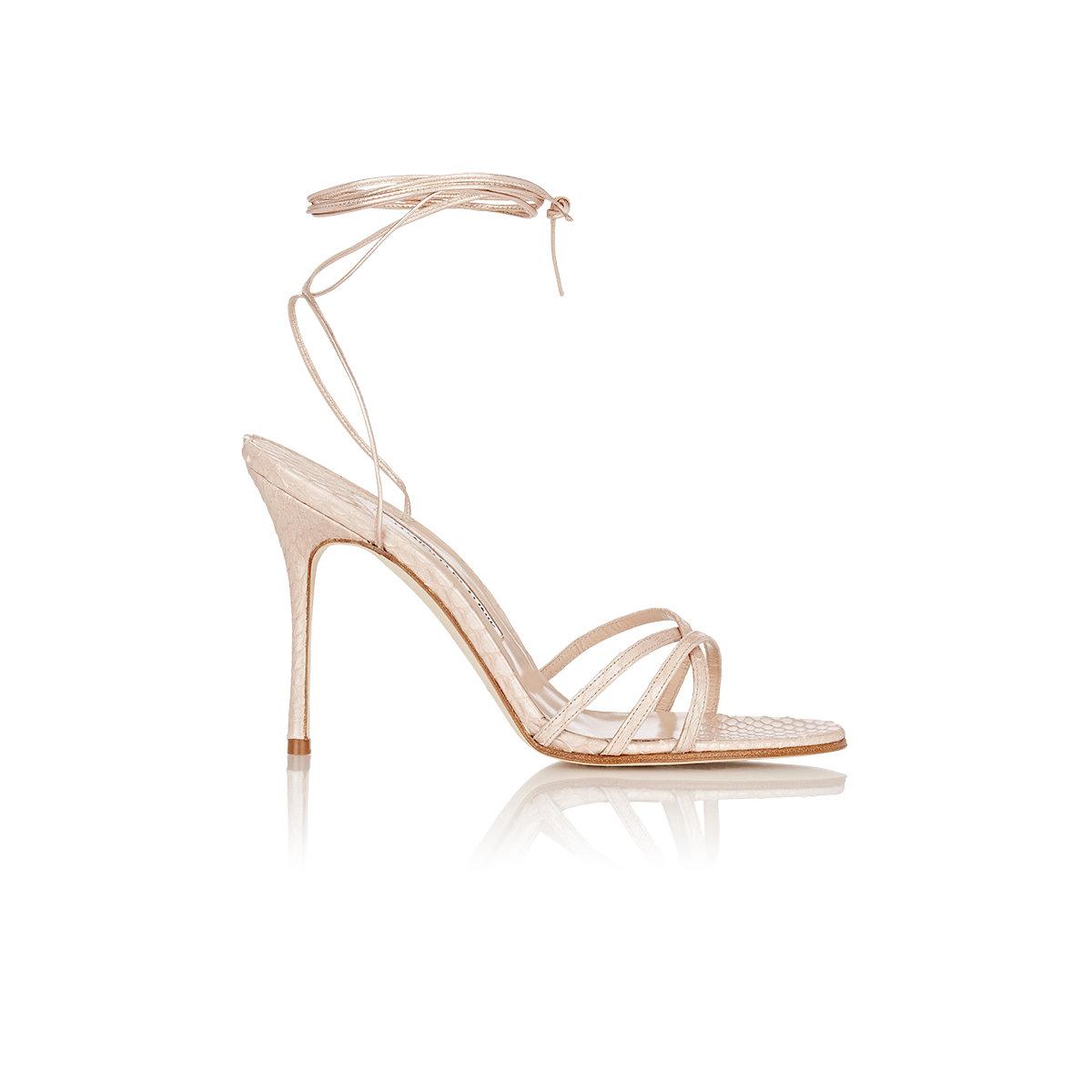 aaa3673c11d3d Manolo Blahnik Women's Snakeskin Leva Ankle-wrap Sandals in Natural ...