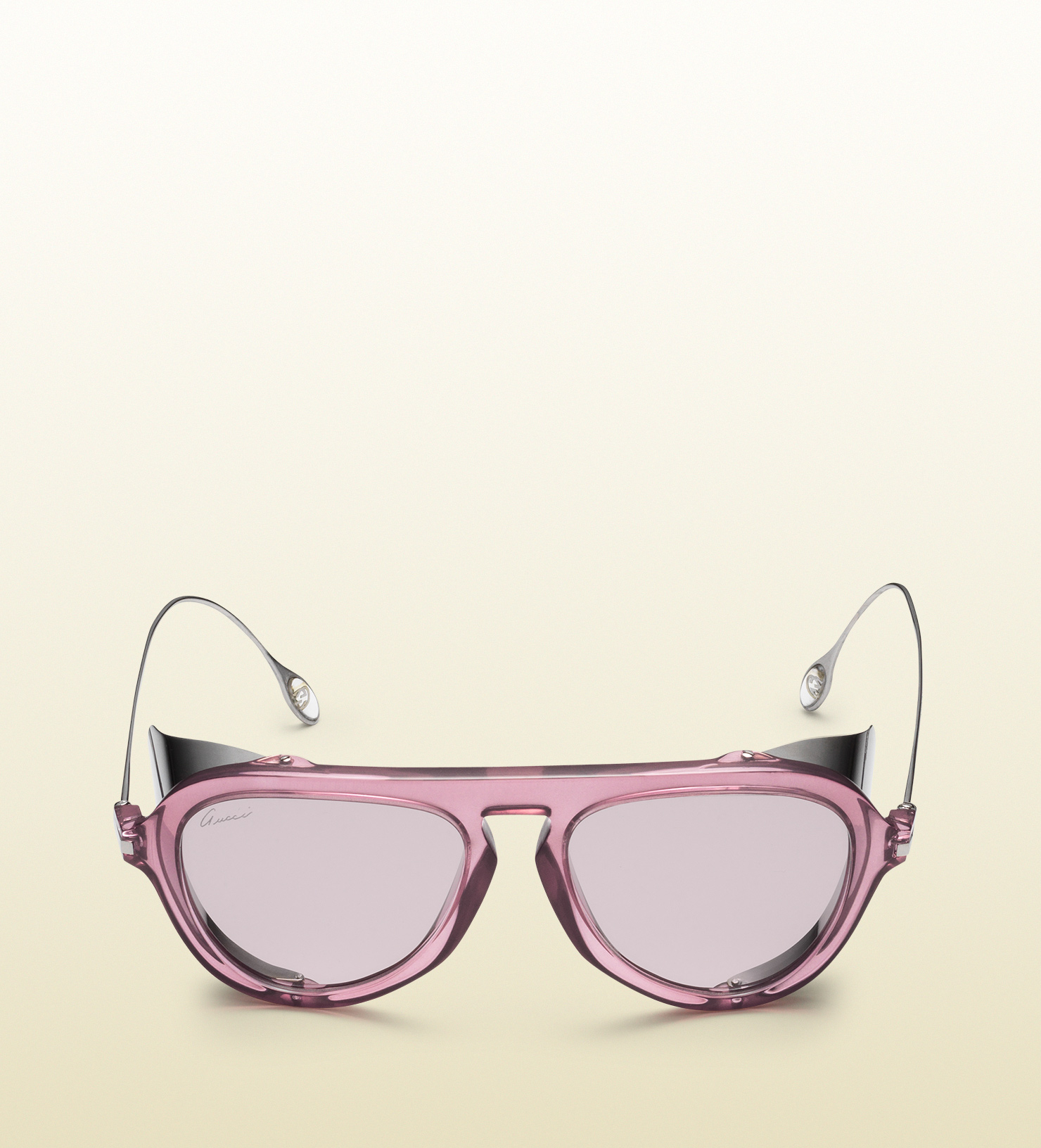 Gucci Optyl Aviator Sunglasses With Metal Blinkers in Pink ...