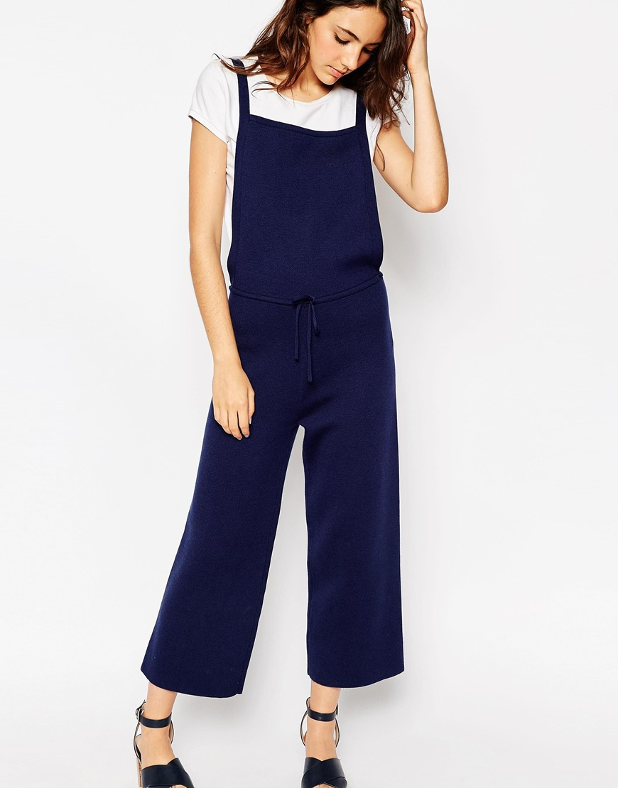5f71525c5e Lyst - ASOS Pinafore Jumpsuit In Knit With Wide Leg in Blue