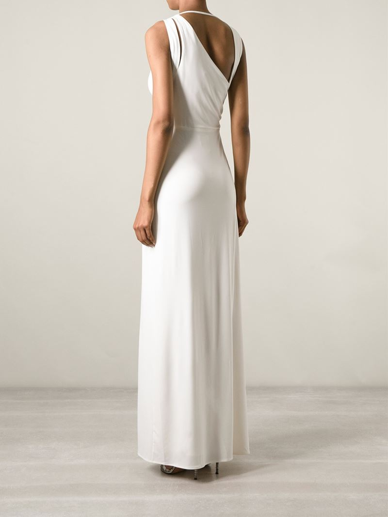 Lyst - Halston Draped-Detail Cut-Out Gown in White