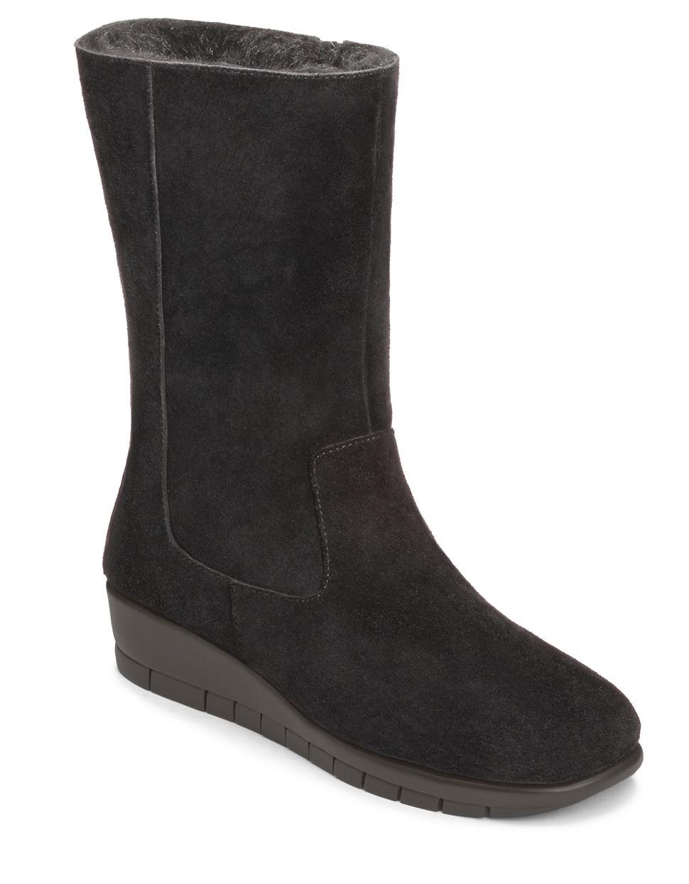 aerosoles plantation suede mid shaft boots in gray black