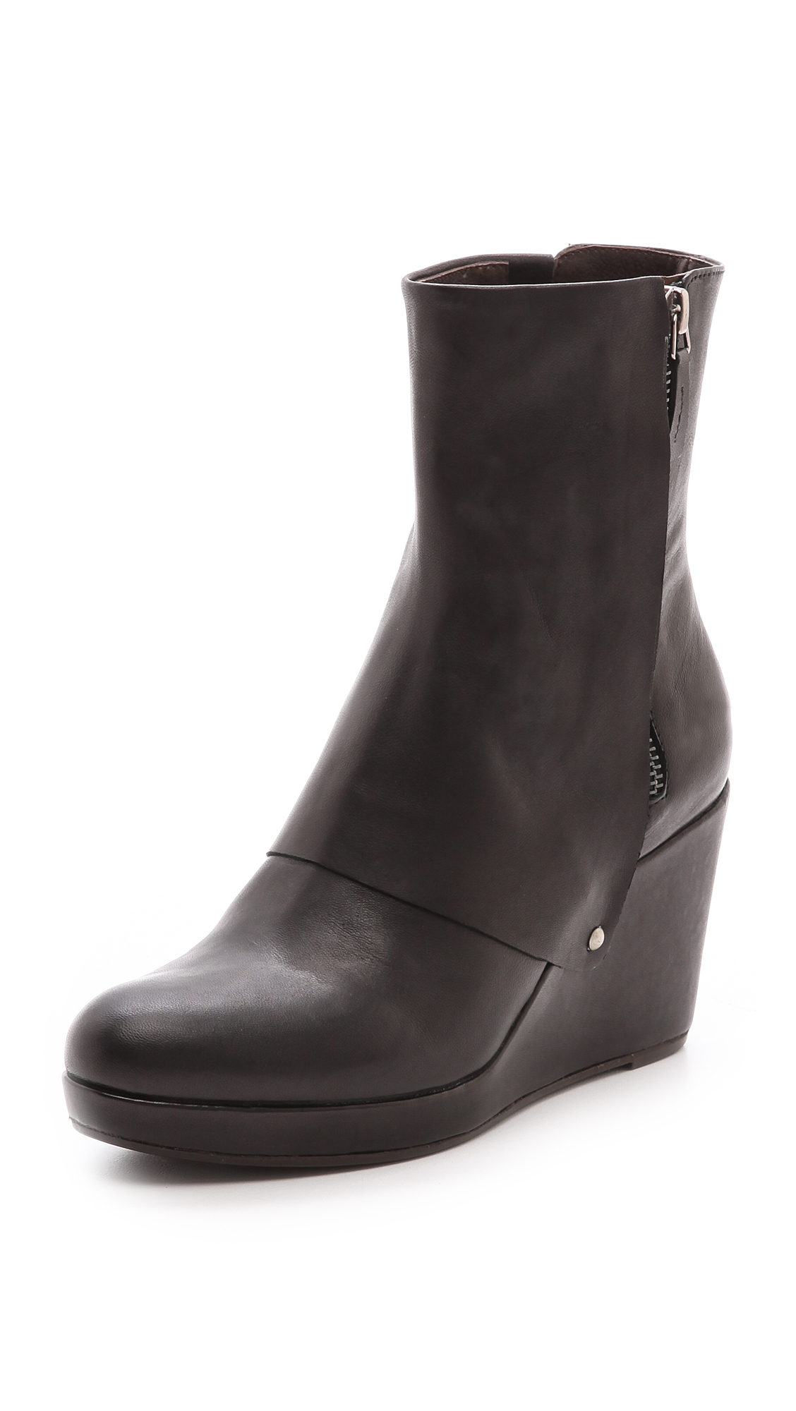Coclico Huette Wedge Booties Black In Black Lyst
