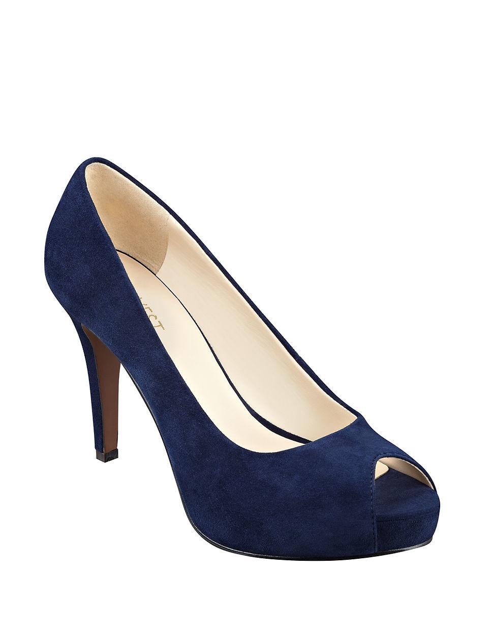 Blue Suede Open Toe Shoes