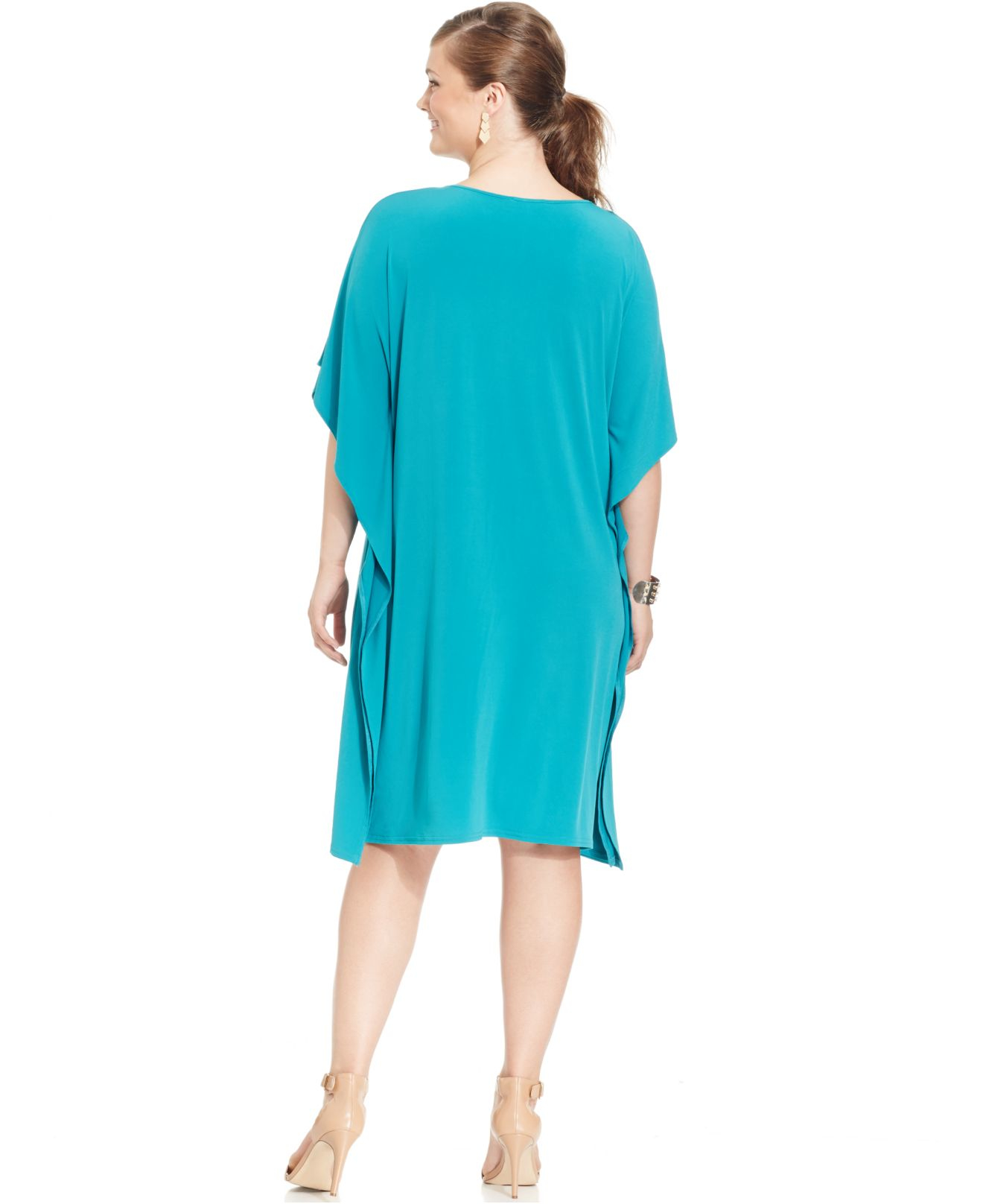 Spense Plus Size Butterfly-sleeve Lace-up Shift Dress in Blue | Lyst