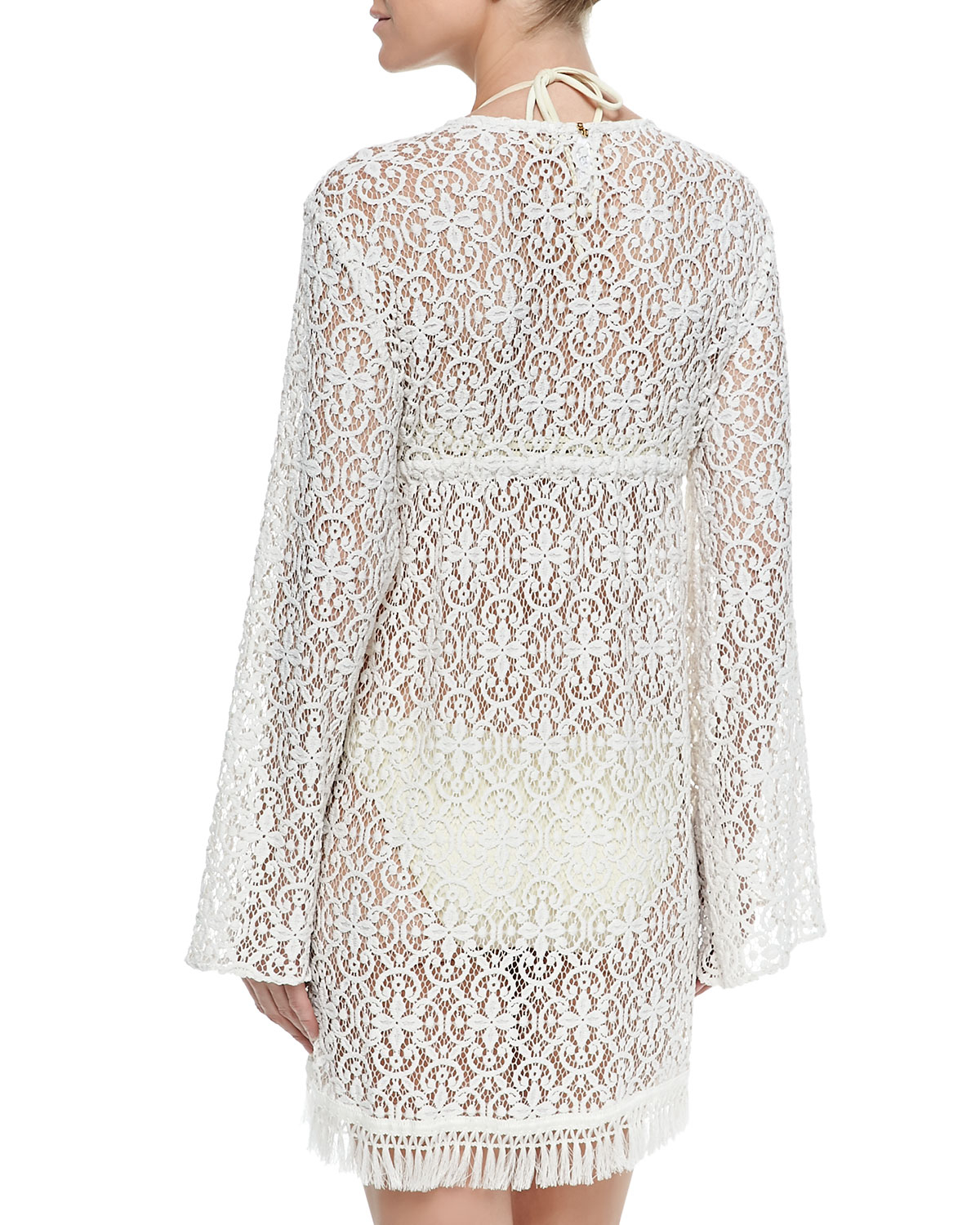 94980b3896d5d Lyst - Pilyq Venus Tie-front Lace Tunic in White