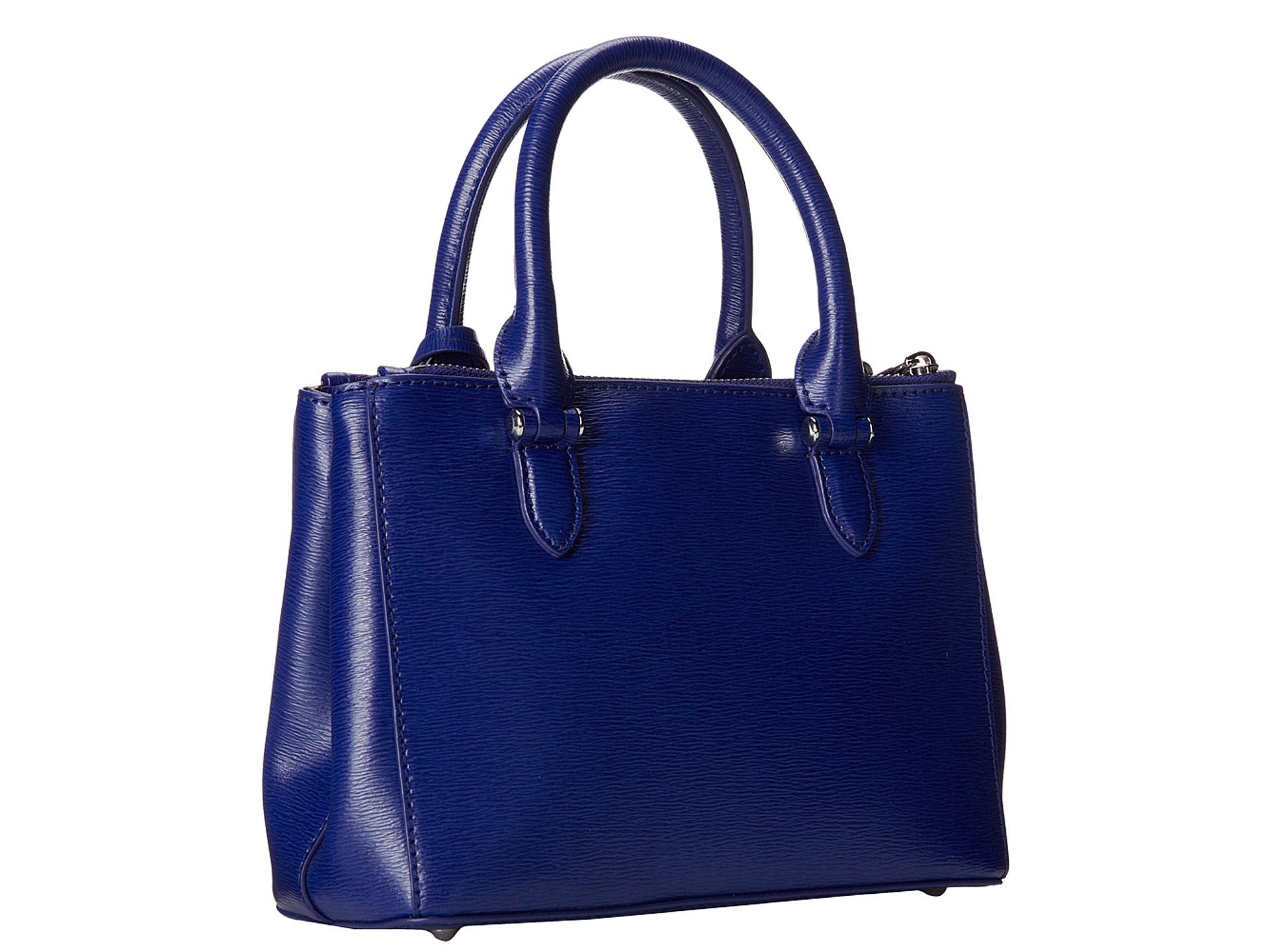 68625d53f23b2 Lyst - Lauren by Ralph Lauren Newbury Mini Double Zip Satchel in Blue