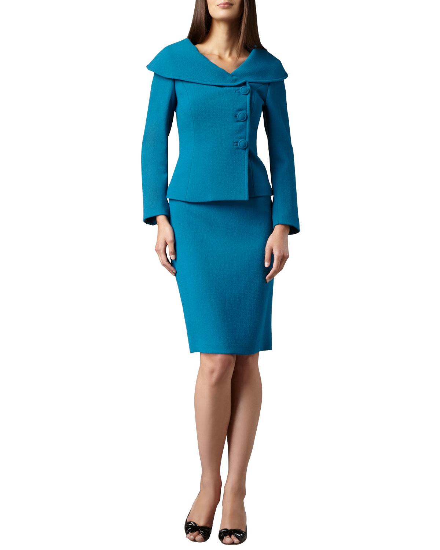 tahari portrait collar three button skirt suit in blue lyst