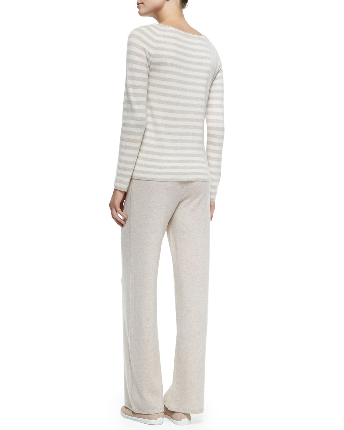9828e75648 In Cashmere Two-Piece Cashmere Top & Pants Set in Natural - Lyst