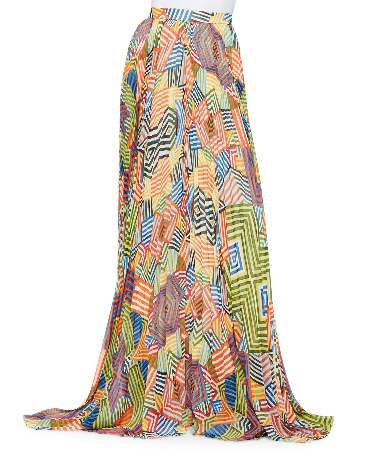 shannon printed pleated maxi skirt in
