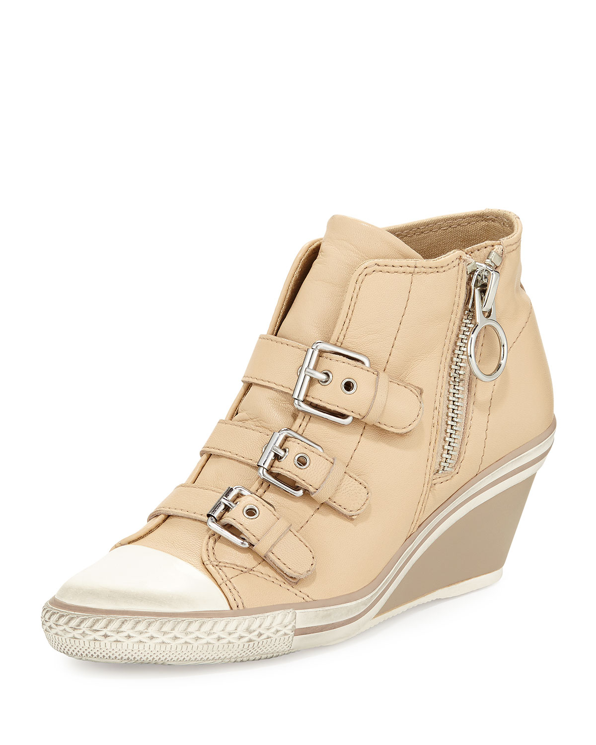 ash gin bis buckled leather wedge sneaker in brown lyst