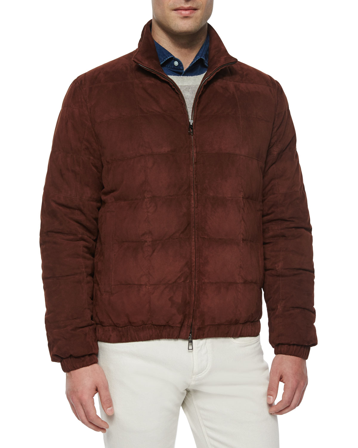 Loro piana Lightweight Quilted Bomber Jacket in Brown for ...