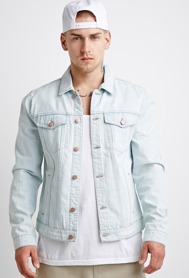 1908d59769a07 Forever 21 Distressed Denim Jacket in Blue for Men - Lyst