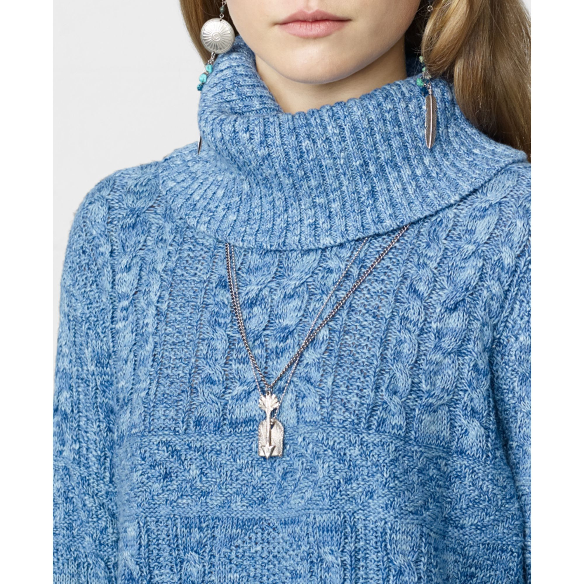 Denim & supply ralph lauren Cropped Cable Knit Turtleneck Sweater ...