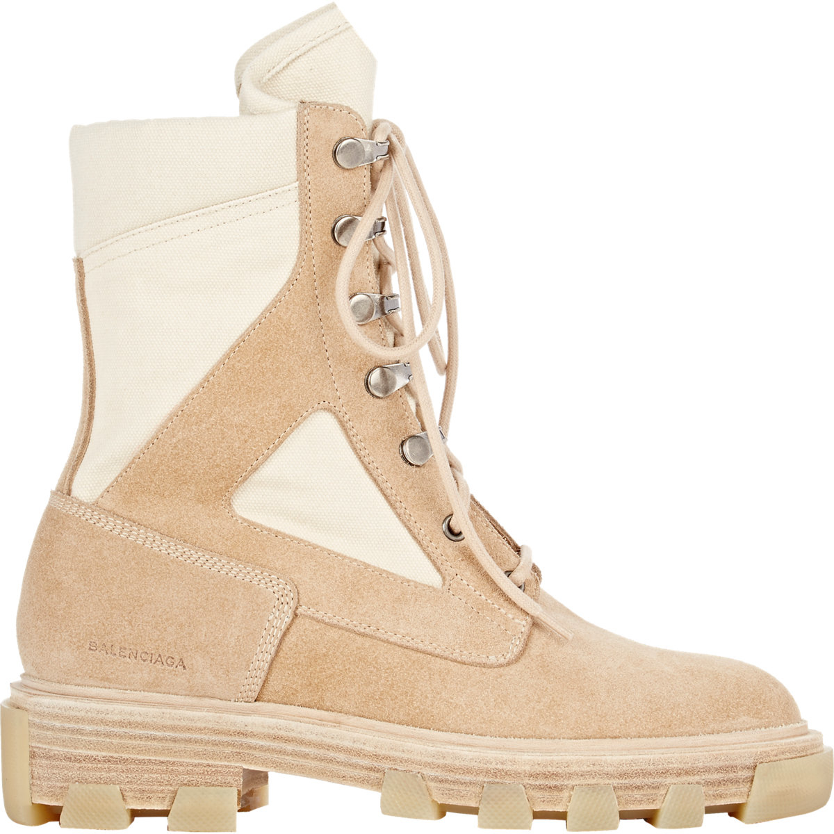 b5d3f6708 Balenciaga Two-Toned Suede and Canvas Boots in Natural - Lyst