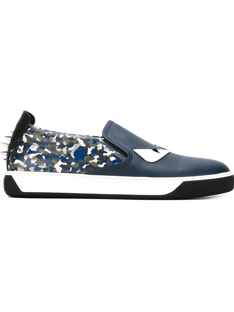 Bugs Sac Fendi Glisser Sur Chaussures De Sport - Bleu 4P9AvmS