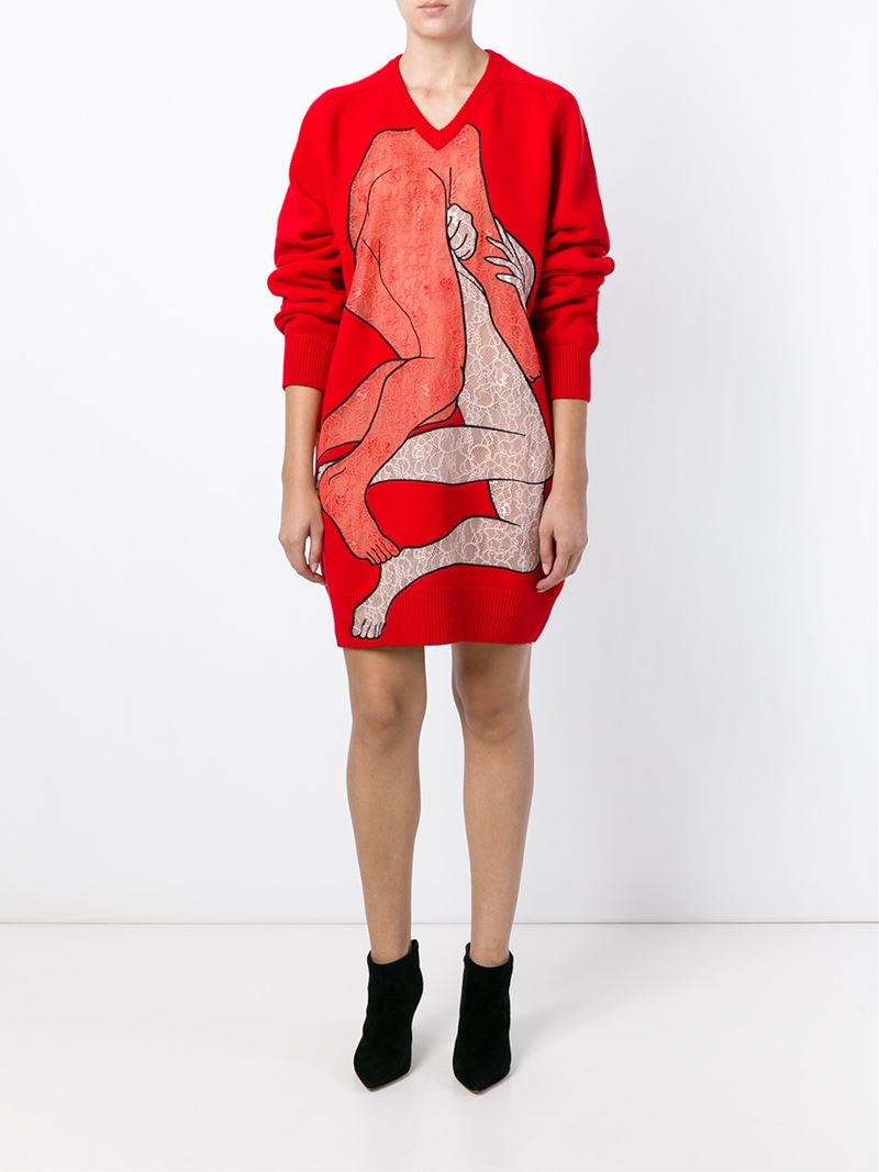 Christopher kane 'lovers Lace' Sweater Dress in Red | Lyst