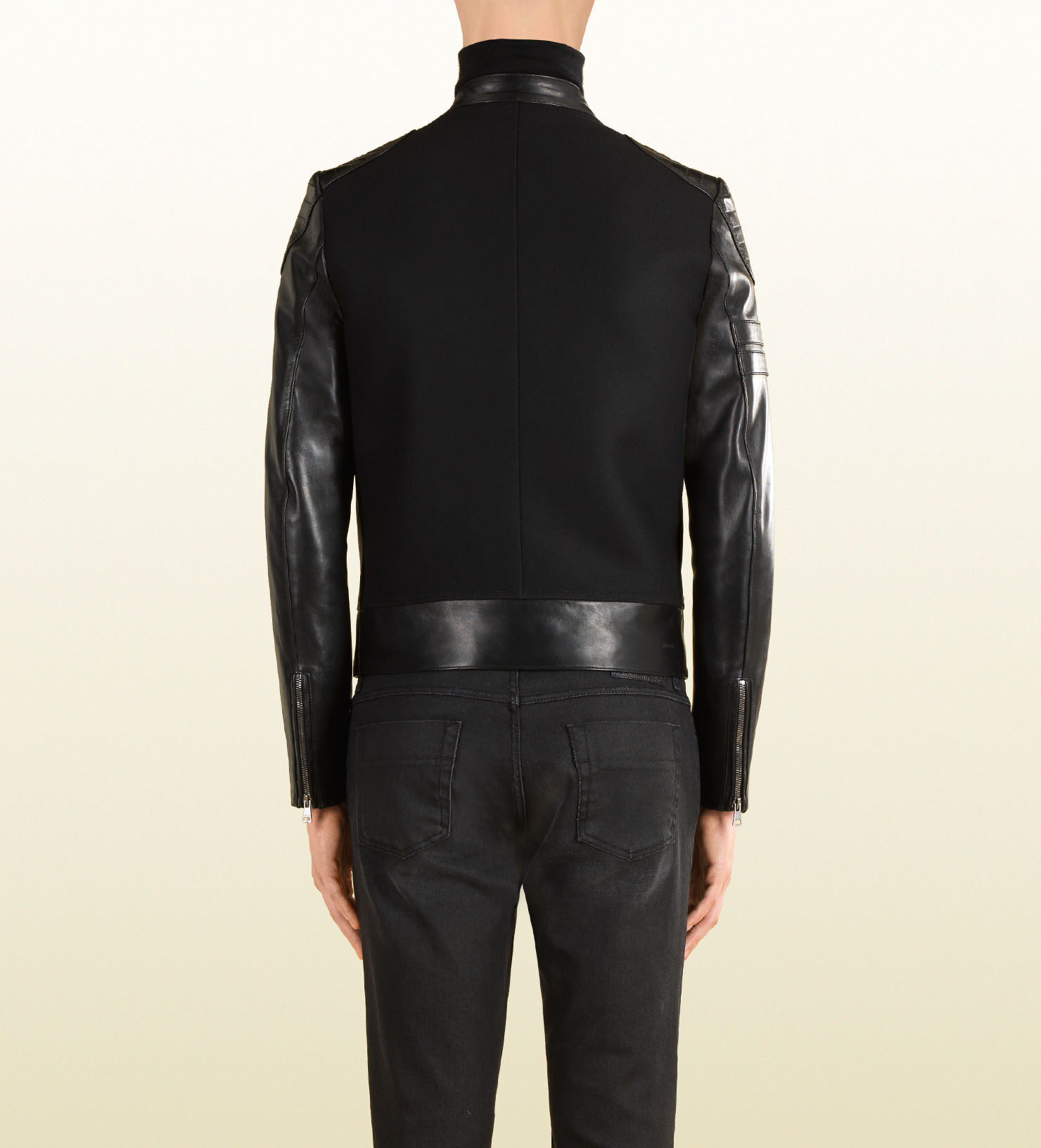 Gucci Black Leather and Wool Combo Biker Jacket in Black ...