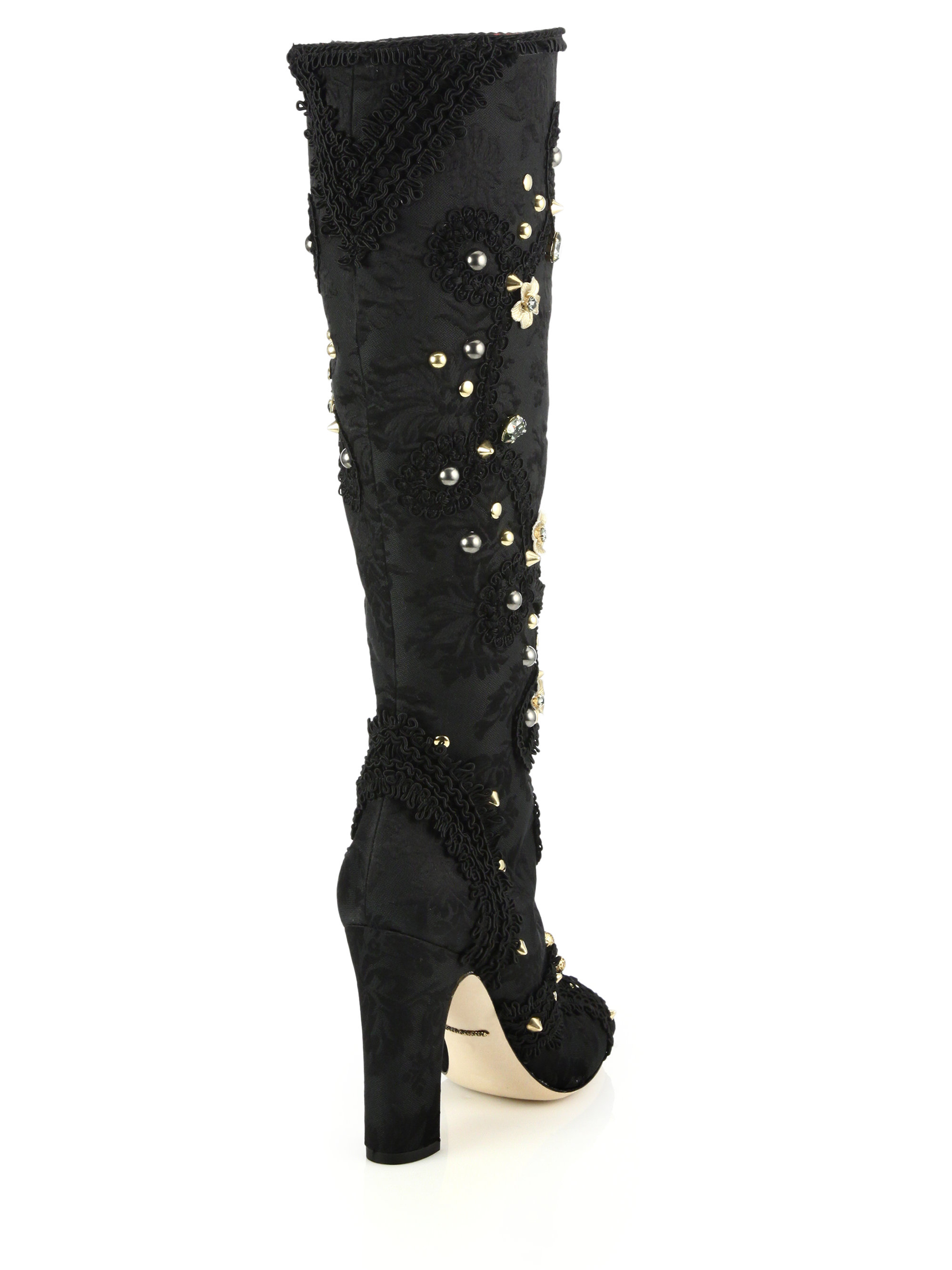 Dolce & gabbana Jeweled & Studded Satin Knee-High Boots in Black ...