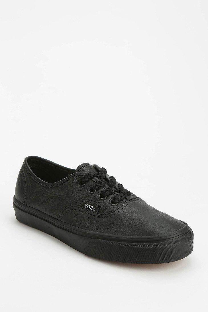vans black leather shoes women