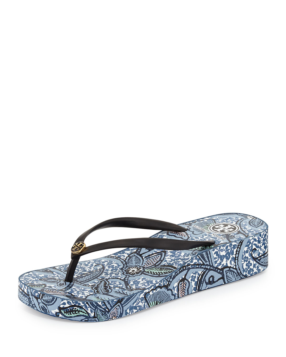 Gallery - Tory Burch Thandie Printed Wedge Flip-Flop Sandal In Black Lyst