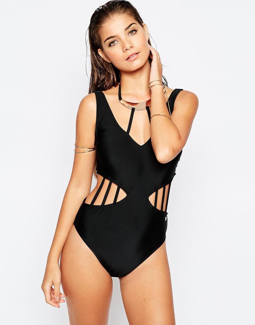 61b239dede32d Lipsy Neck Detail Swimsuit - Black in Black - Lyst