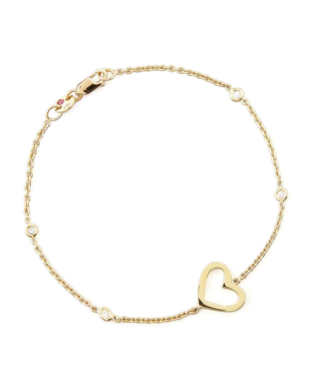 Roberto Coin Yellow Gold Heart Diamond Bracelet In