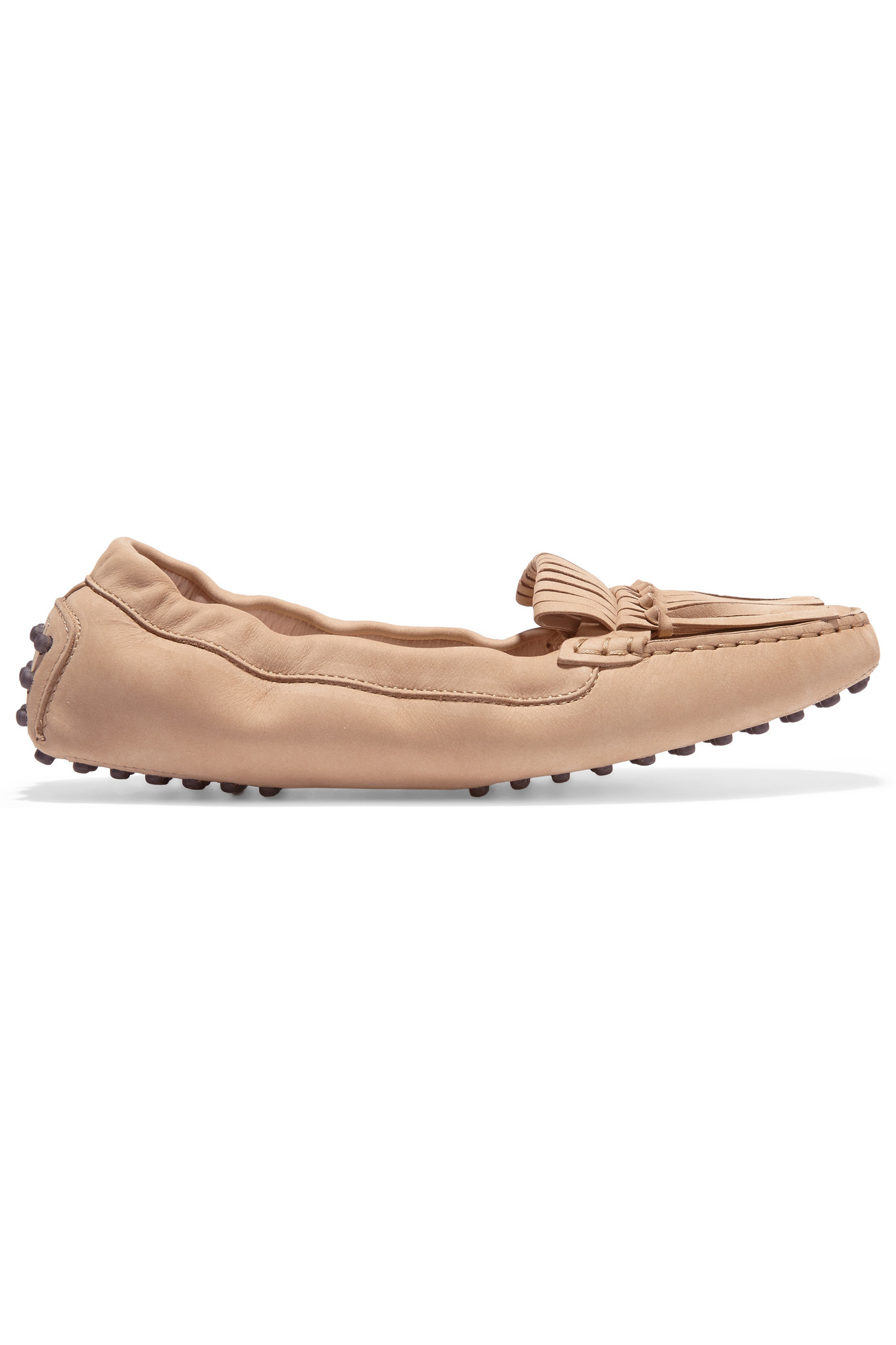 2bd86a04c07 Tod s Gommino Fringed Leather Loafers in Natural - Lyst