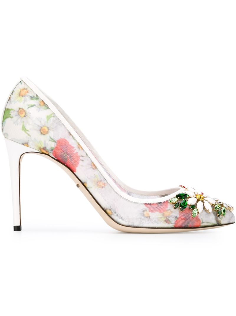 Dolce & gabbana Daisy and Poppy-Print Leather Pumps in ...