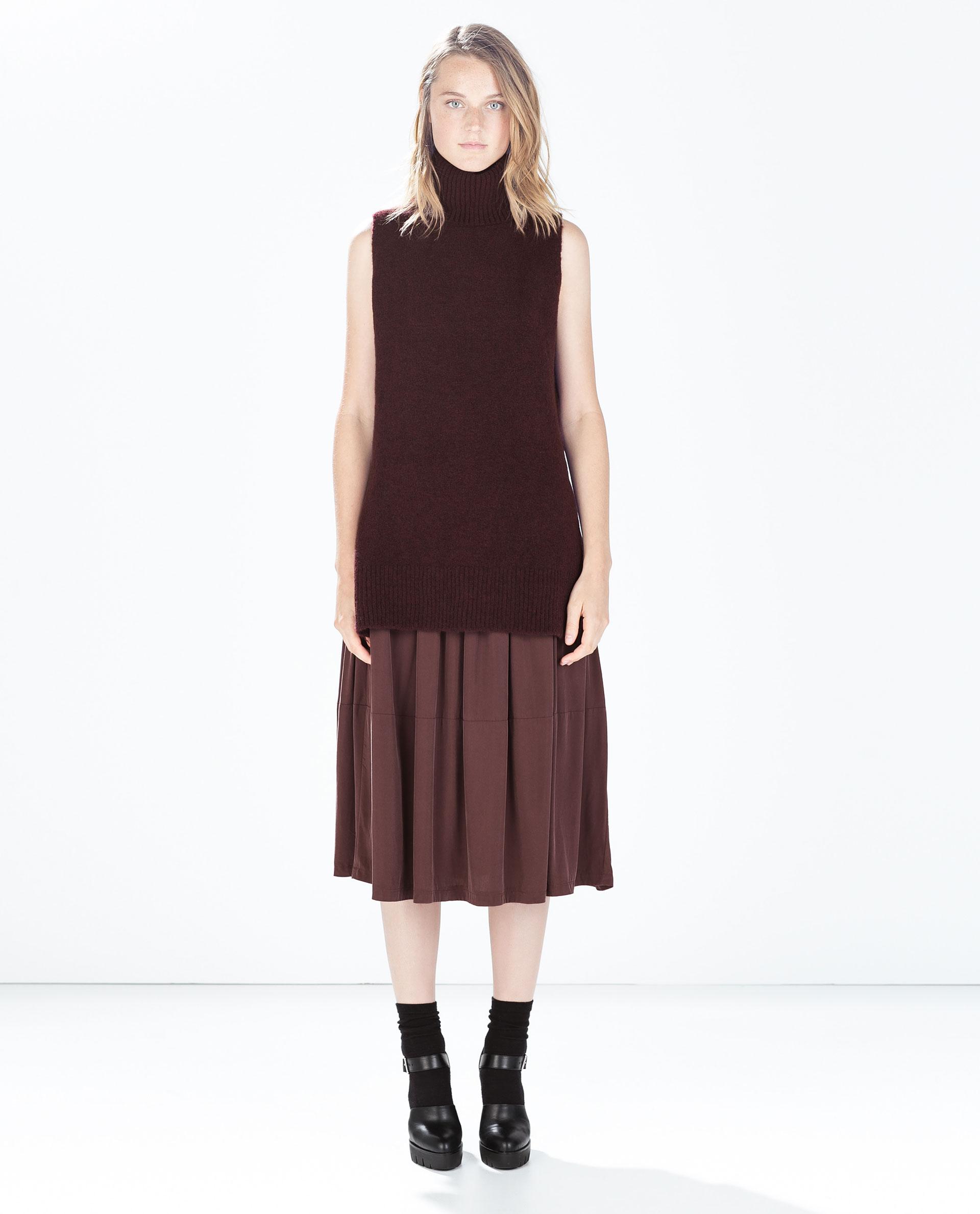 zara cupro midi skirt in brown lyst