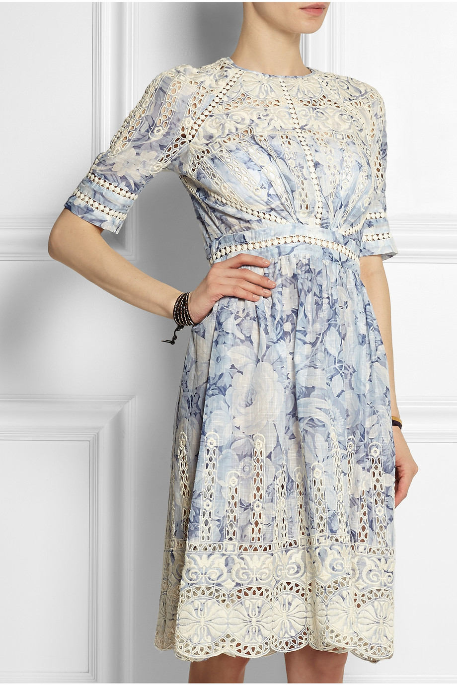 Zimmermann confetti embroidered floral print cotton dress