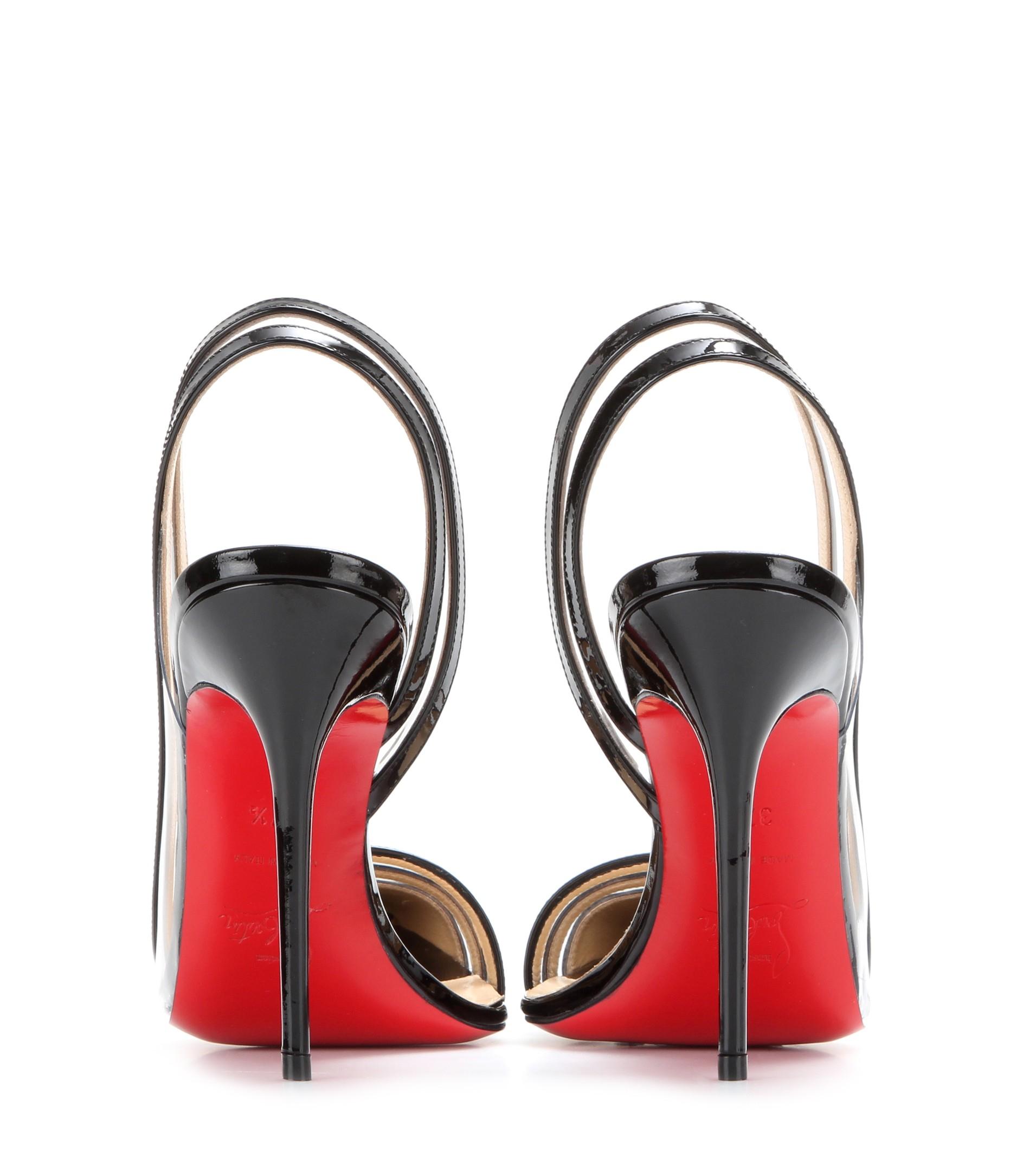 louboutin imitation - christian louboutin leather plexi wedge slingback pumps