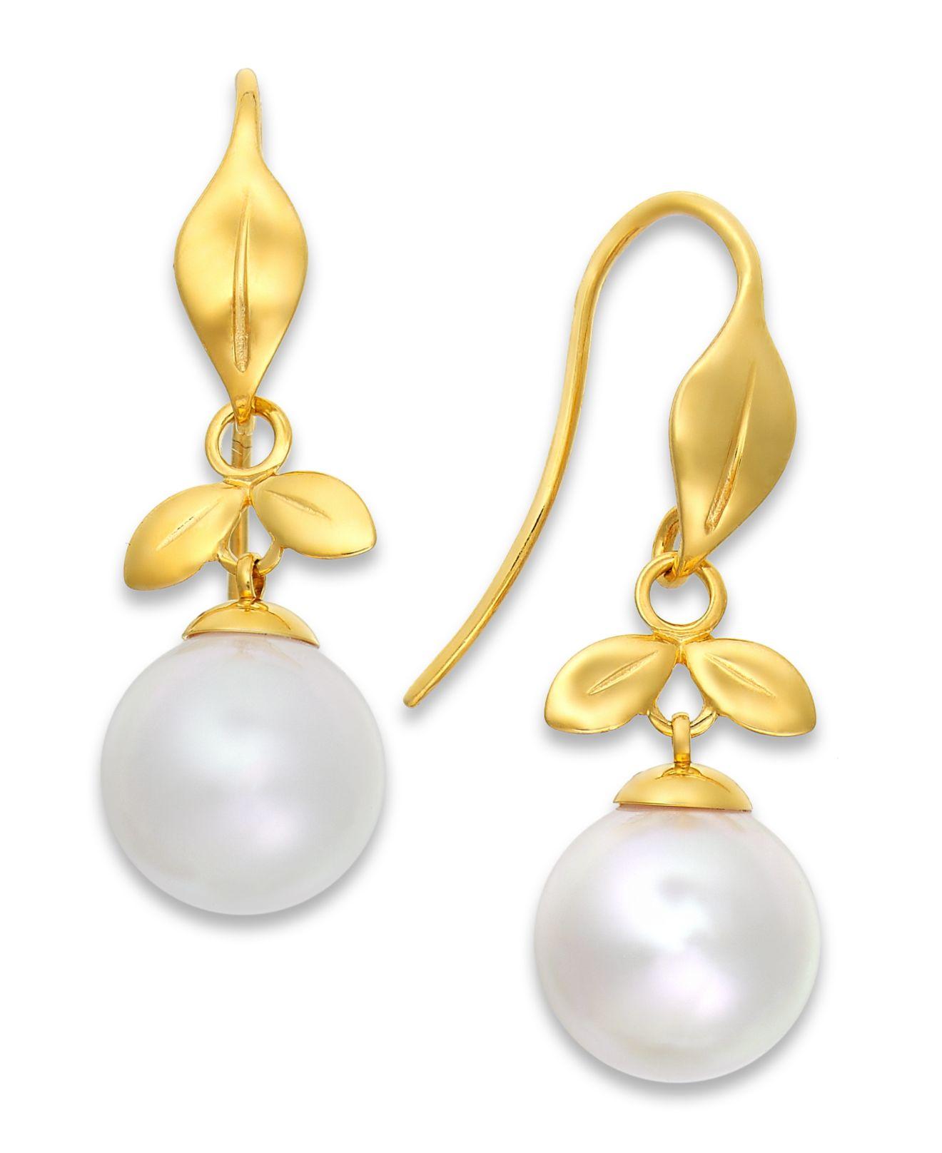Majorica 18k Vermeil Pave Crystal Pearly Bar Drop Earrings jKCXL424Z