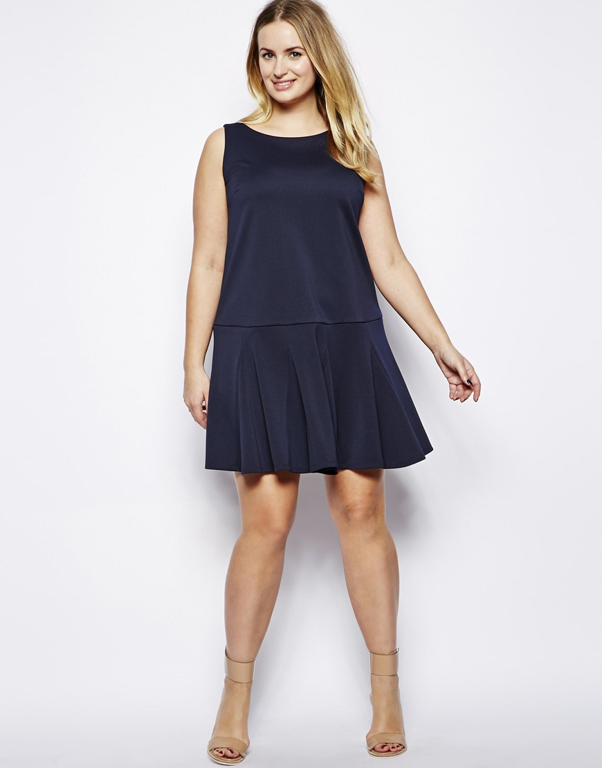 Asos Shift Dress with Peplum Hem in Blue | Lyst