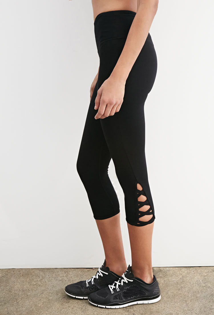 Forever 21 Crisscross Cutout Capri Leggings In Black Lyst