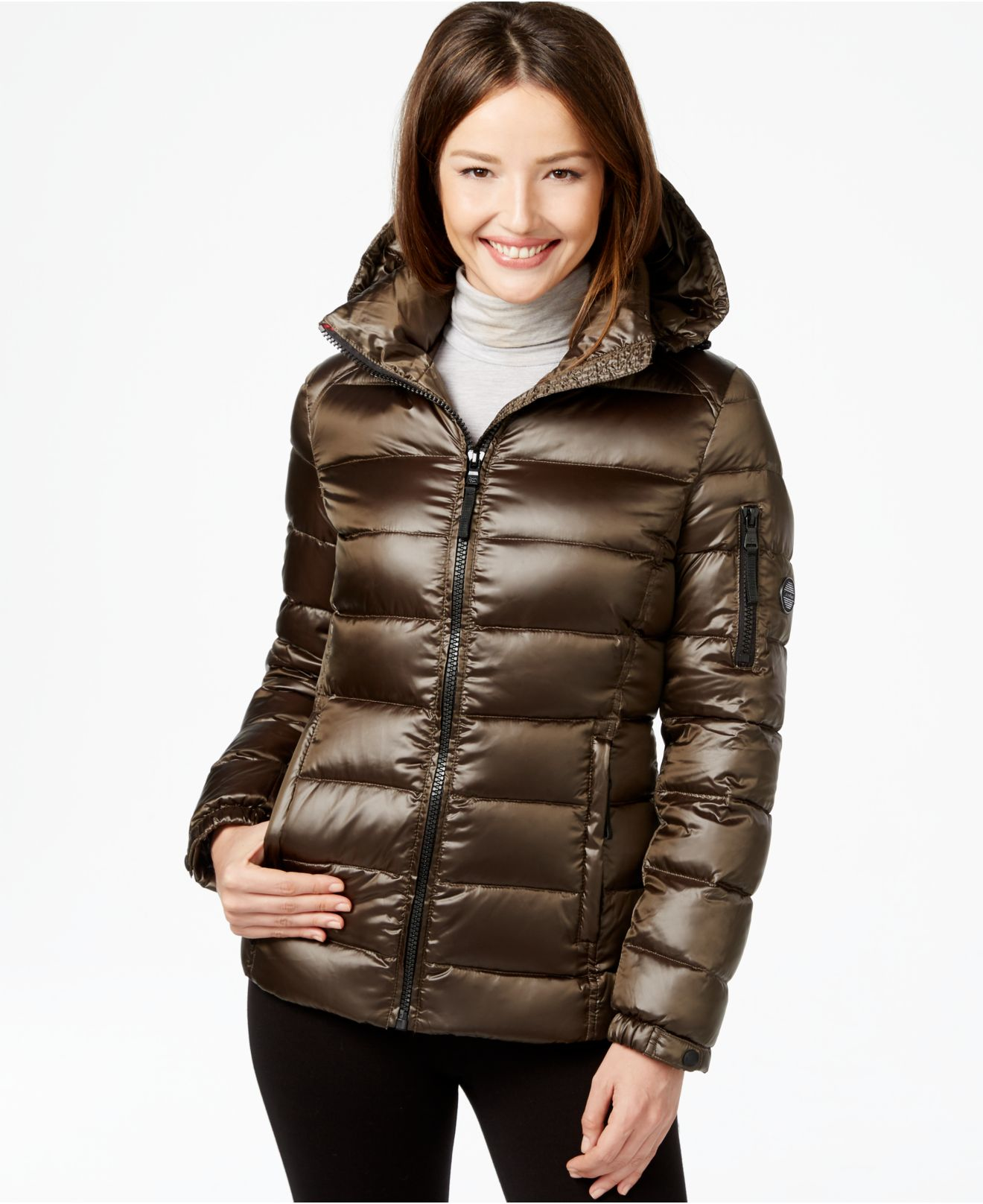 Lyst Calvin Klein Quilted Down Puffer Coat In Green