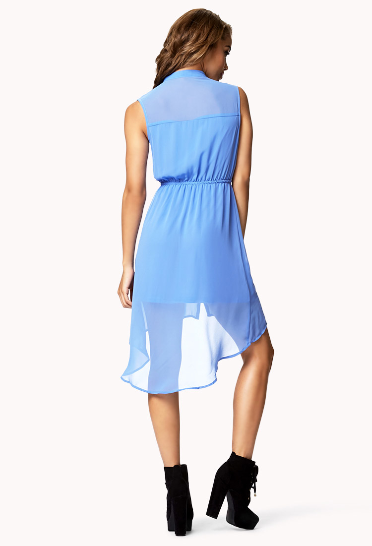 lyst forever 21 highlow shirtdress in blue