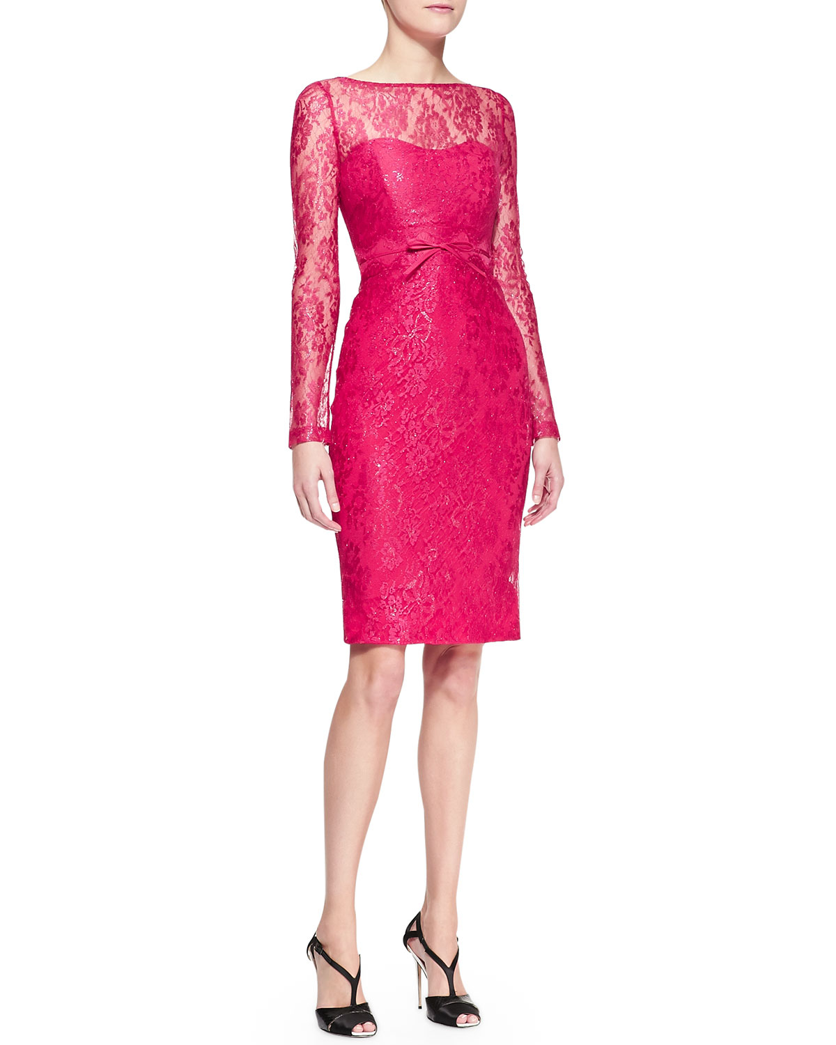 Lyst Carolina Herrera Long Sleeve Bow Waist Lace Sheath